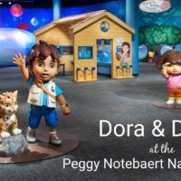 Dora and Diego statues and activities at the Peggy Notebaert Nature Museum Chicago