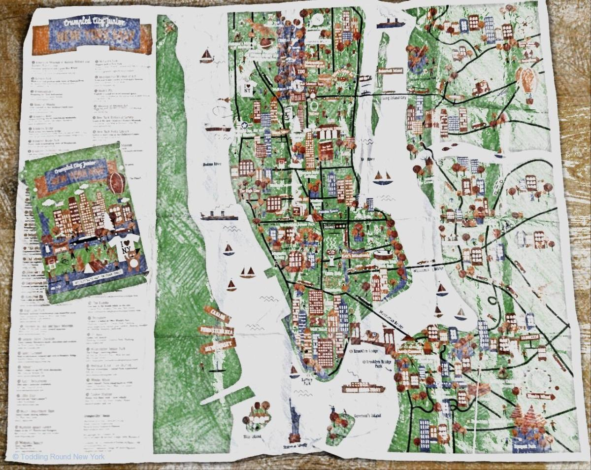 crumpled City Junior New York map,brilliant for the kids