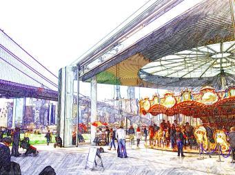 Jane's Carousel, with views over the East River, DUMBO. Jane's Carousel - Brooklyn Bridge - New York - High Line