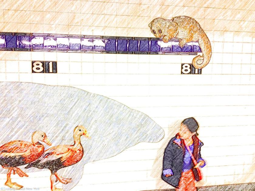 81st Street subway station mosaic - meeting dinosaur