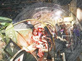 T&B enjoying the Exploreum's helicopter