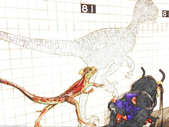 B and the dinosaurs at the 81st St subway, en route to American Museum of Natural History