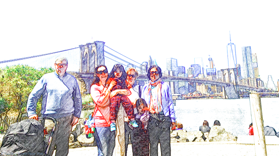 Extended family in front of Brooklyn Bridge, DUMBO