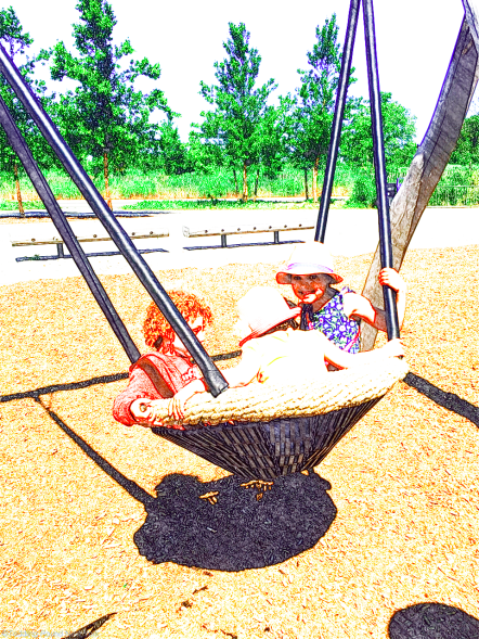 Fun cradle swings at Hammock Grove playground, Governors Island
