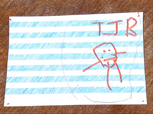B's note, T, J and B all in a family circle a la 'The Good Dinosaur'