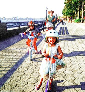 Leanring to scoot and cycle along the Hudson River Esplanade - School