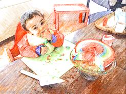 The birthday boy and the birthday cake