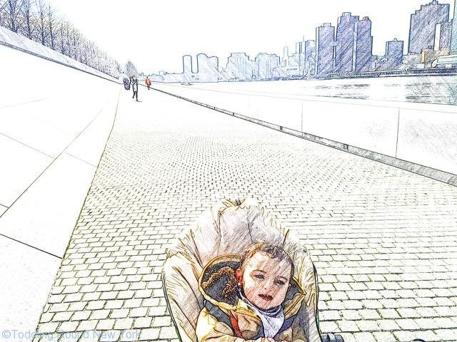 Baby J and the river path along Roosevelt Island's western side