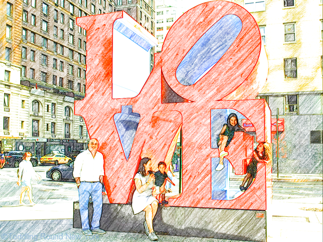 Kay Bermudez photo shoot - the DCs with 'Love' sculpture 6th Avenue & West 55th Street - Leaving New York