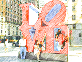 Kay Bermudez photo shoot - the DCs with 'Love' sculpture 6th Avenue & West 55th Street