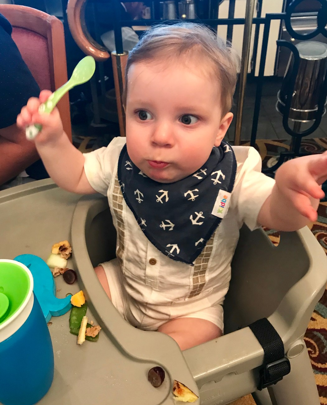 High Chairs in the Formal Dining Rooms on Cruises with a Baby Toddling Traveler