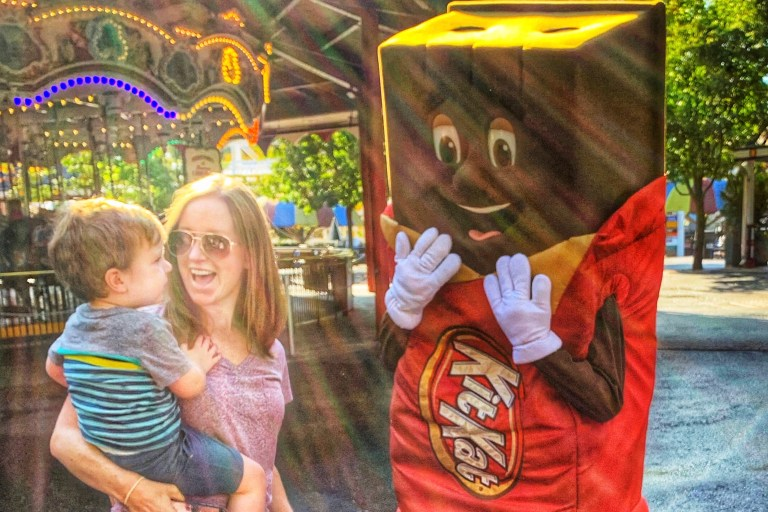 Hershey, PA with Kids characters at Hershey Park Toddling Traveler