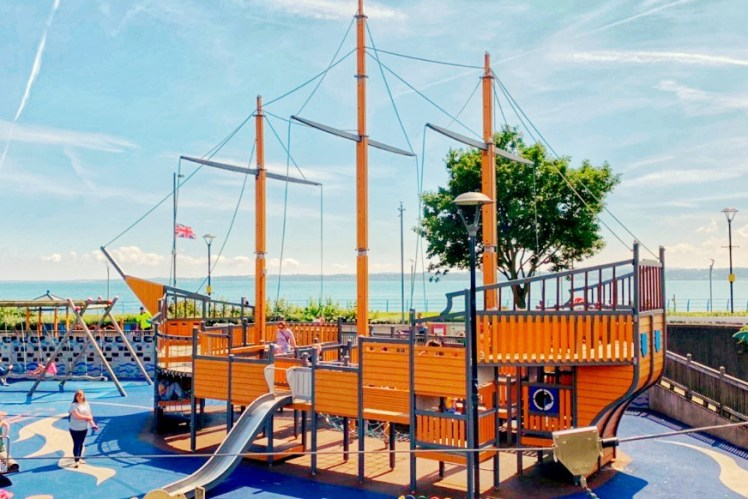 Carrickfergus Playground Marine Gardens Ship Daytrip from Belfast Toddling Traveler
