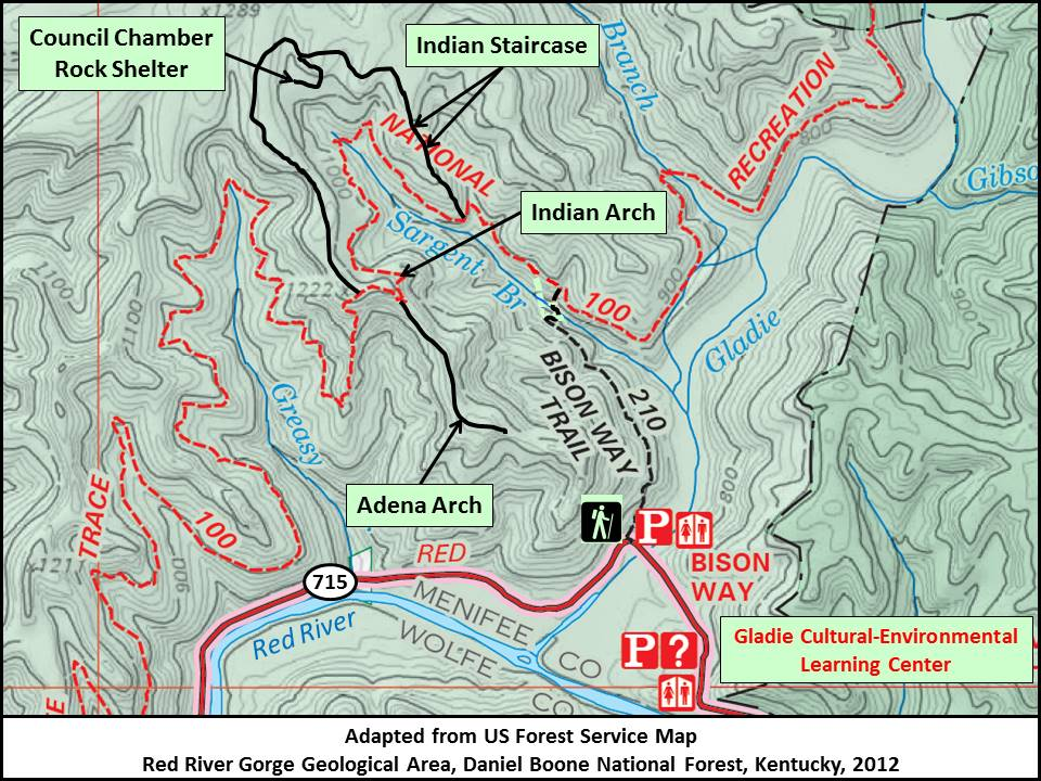 Kentuckys Red River Gorge Indian Staircase - Red river us map