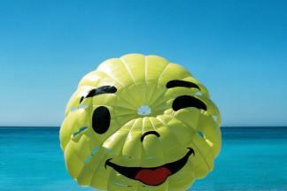 Friendly face on parachute