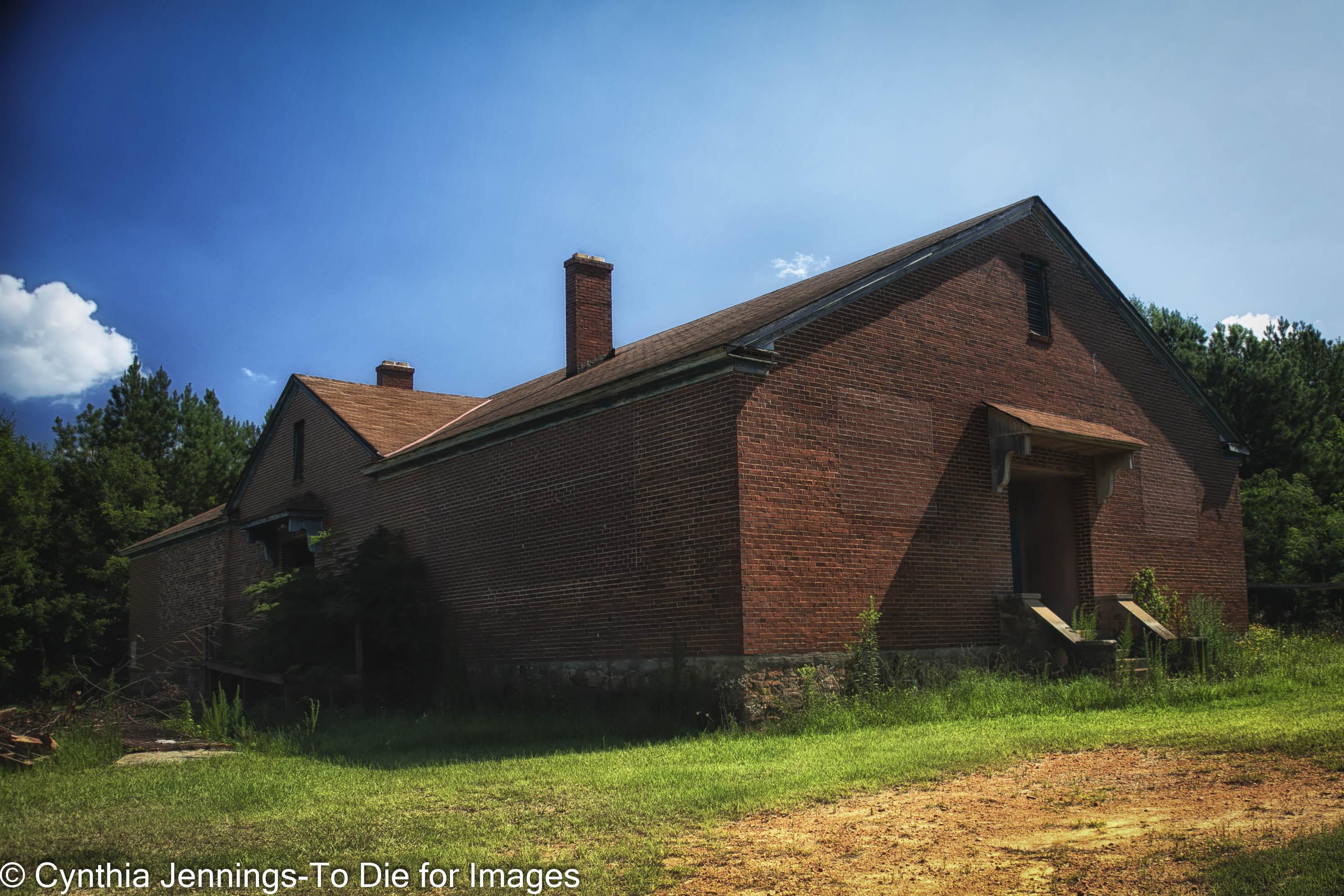 red brick school with side door