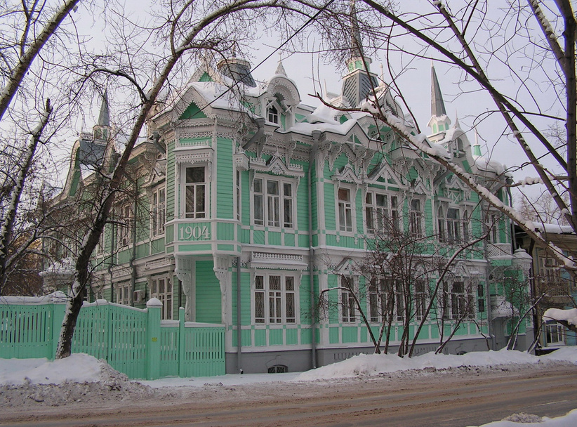 Wooden Tomsk City in Siberia, Russia
