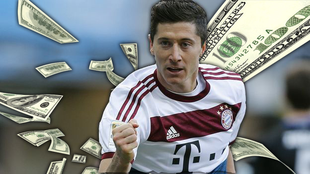 Bayern's Robert Lewandowski from Poland celebrates after scoring  during the German first division Bundesliga soccer match between SC Paderborn and Bayern Munich in Paderborn, Germany, Saturday, Feb. 21, 2015. (AP Photo/Frank Augstein)