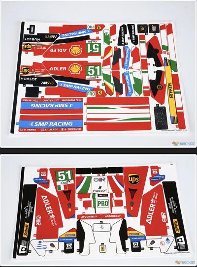 Todas las pegatinas del Ferrari 488 GTE de LEGO 42125