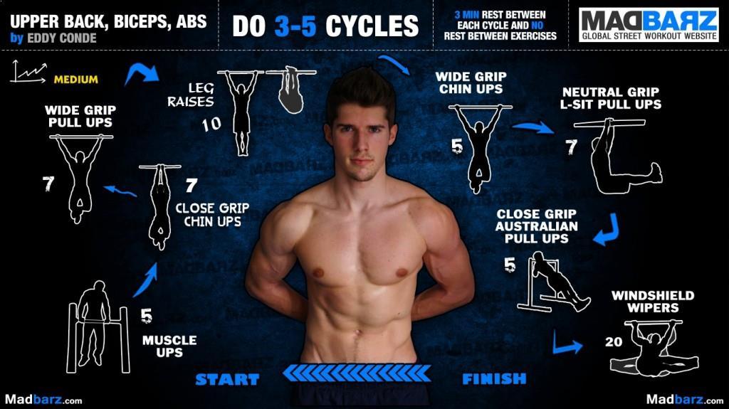 rutina espalda alta biceps abdominales intermedio