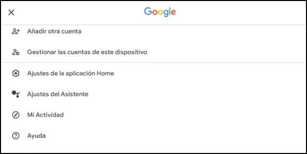 ajustes Google Home