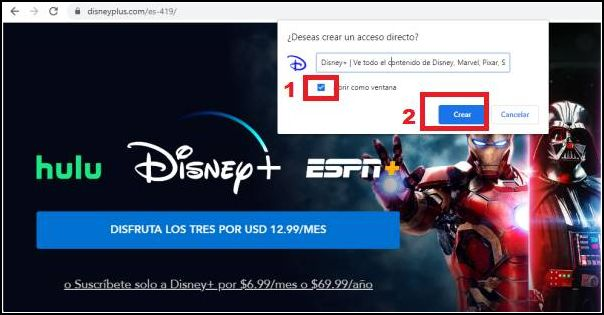 crear acceso directo Windows a Disney Plus