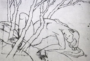 nude woman of the grove of miscellaneous trees