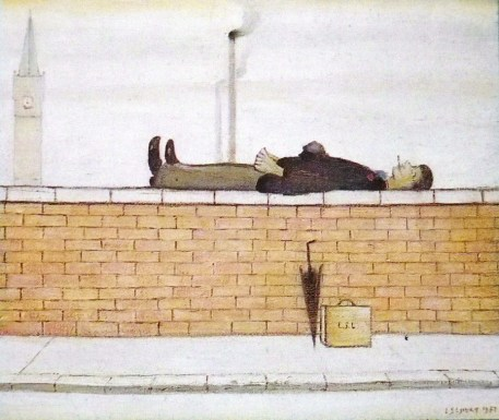 Man lying on a wall / 1957 / oil