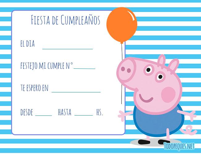 invitaciones de George Pig cumpleanos