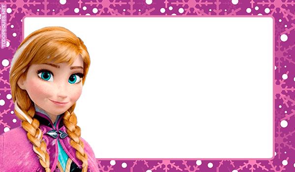 Etiquetas de Frozen Anna Tarjetas Invitaciones