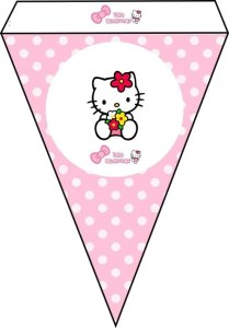 moldes banderines hello kitty