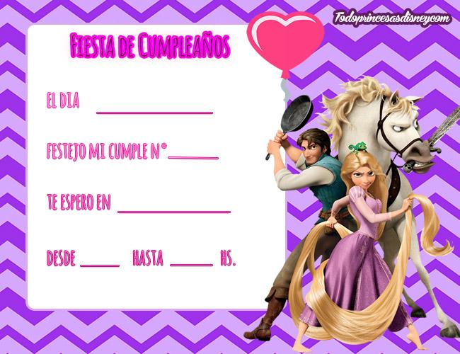 Invitaciones De Cumpleaños De Rapunzel Princesas Disney