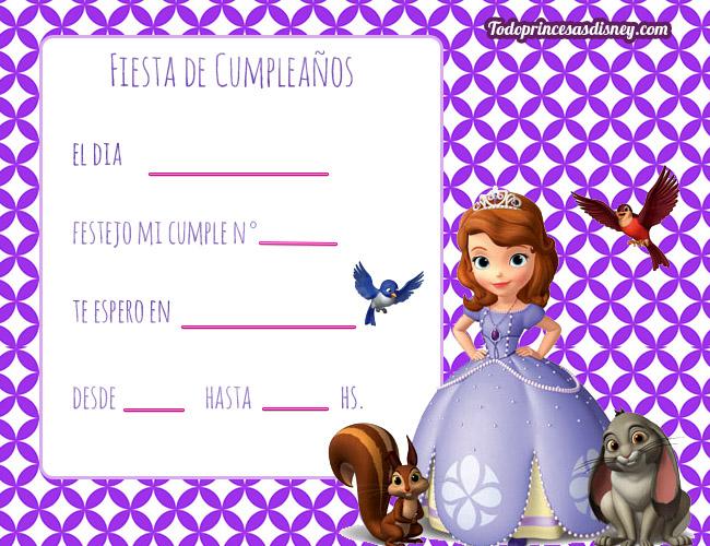 Invitaciones De Cumpleanos De Princesa Sofia Princesas Disney