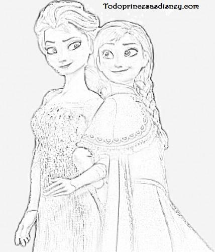 Dibujos De Elsa Y Anna Para Colorear Archivos Princesas Disney