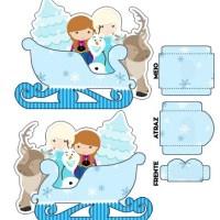 Molde de Trineo de Frozen con Elsa Anna y Olaf