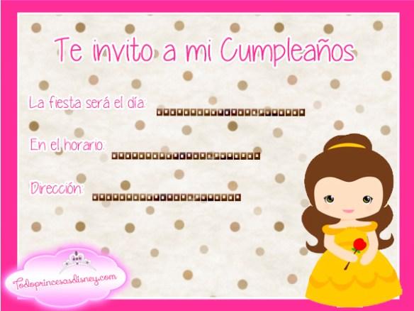 Invitaciones de Cumpleaños de Princesa Bella Disney