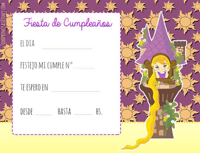 Convites Princesas Disney Invitaciones de Rapunzel