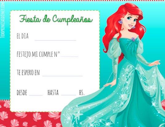 Princesas Disney Invitaciones de cumpleanos