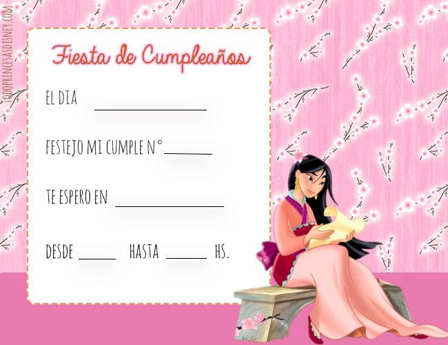 Tarjetas de Princesas Disney Mulan Invitaciones