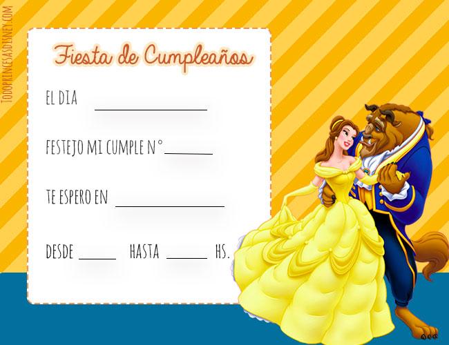 Tarjetas Invitaciones De Cumpleaños De Bella Y Bestia