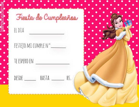 Princesa Bella Invitaciones cumpleanos