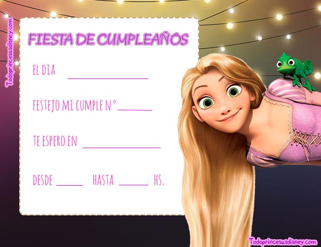 Fondo Luces Invitaciones Rapunzel fiesta
