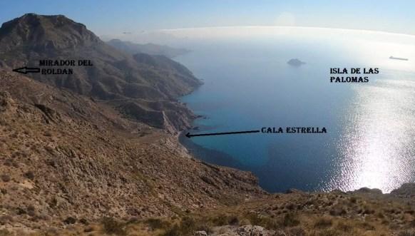 Lugares avistados desde el Puntal del moco, cala estrella e isla de las Palomas.