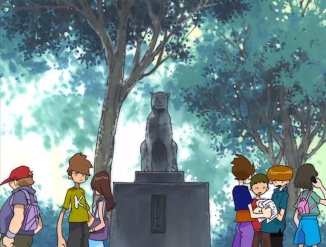 estatua hachiko anime digimon adventure