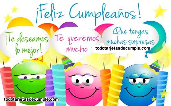 tarjetas de feliz cumpleaños con buenos deseos y te quiero mucho