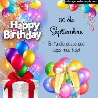 Tarjetas de cumpleaños con los días de Septiembre