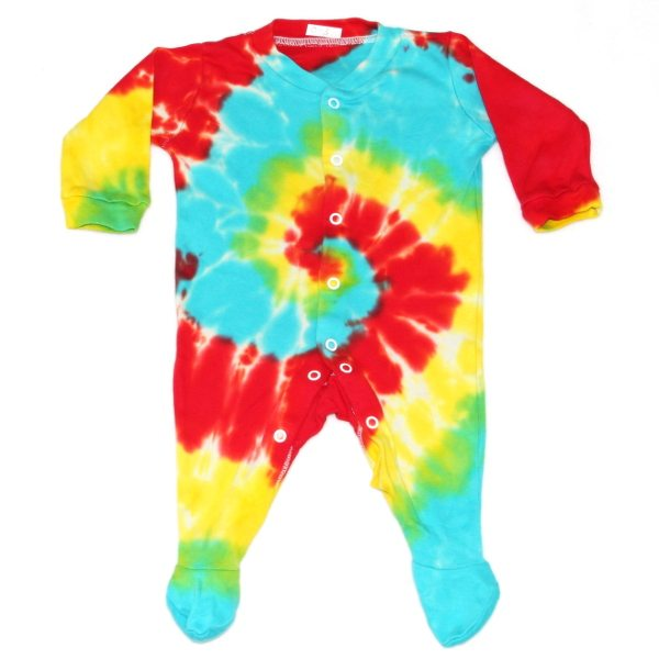 custom dyed babygrows primary swirl