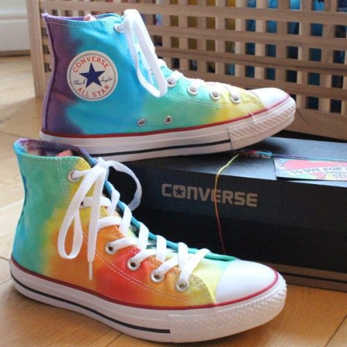 Rainbow custom dyed Converse Hi Tops
