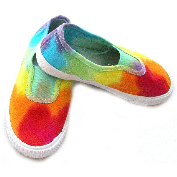rainbow custom dyed kids PE pumps