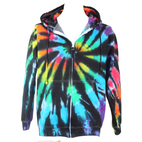 zip hoody - black rainbow